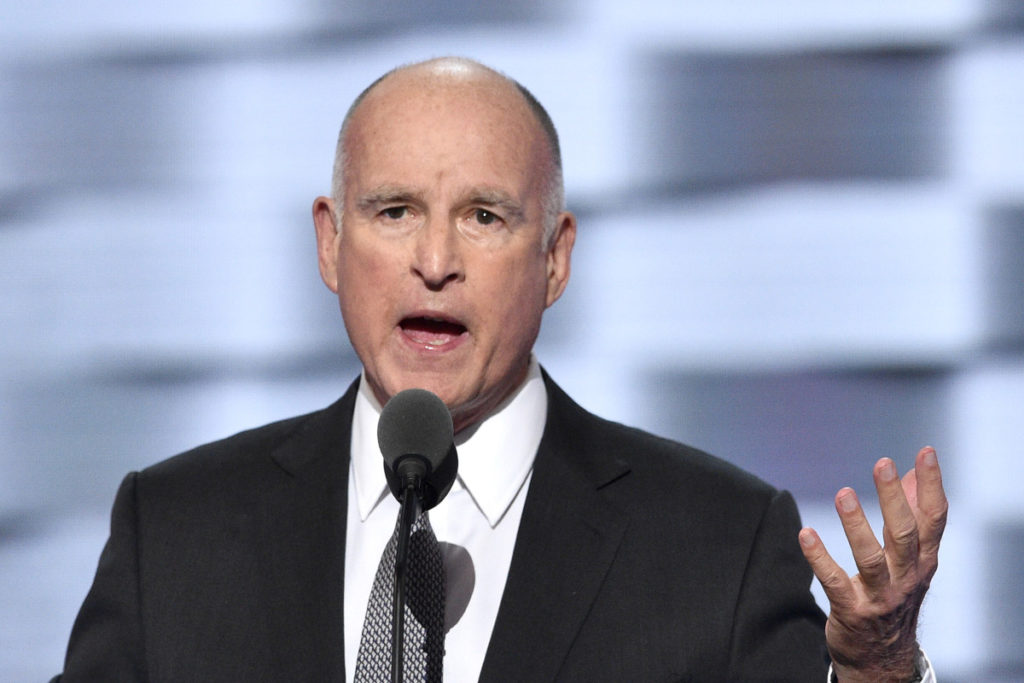 California Gov. Jerry Brown peaks to delegates on day three of the 2016 Democratic National Convention at the Wells Fargo Center in Philadelphia, PA, on July 27, 2016. (Photo by Anthony Behar) *** Please Use Credit from Credit Field ***